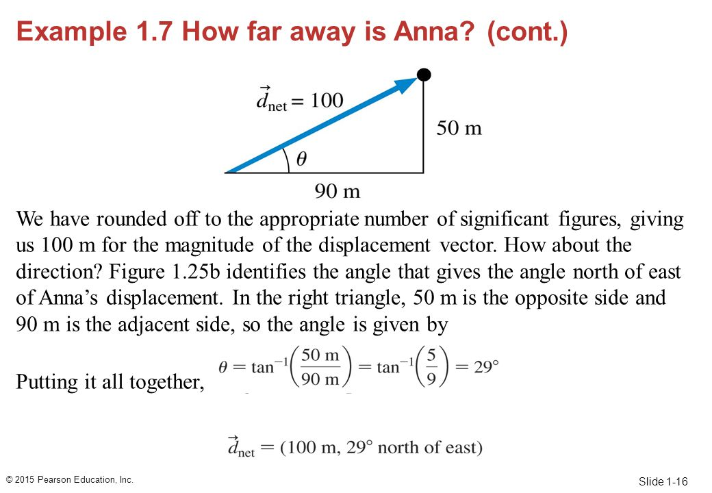 Slide 1-16 Example 1.7 How far away is Anna? (cont.) We have rounded off to the appropriate number of significant figures, giving us 100 m for the mag