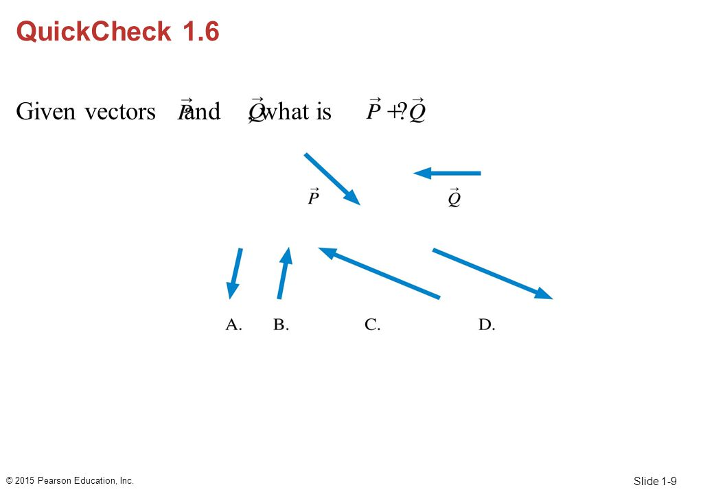 Slide 1-9 QuickCheck 1.6 Given vectors and, what is ? © 2015 Pearson Education, Inc.