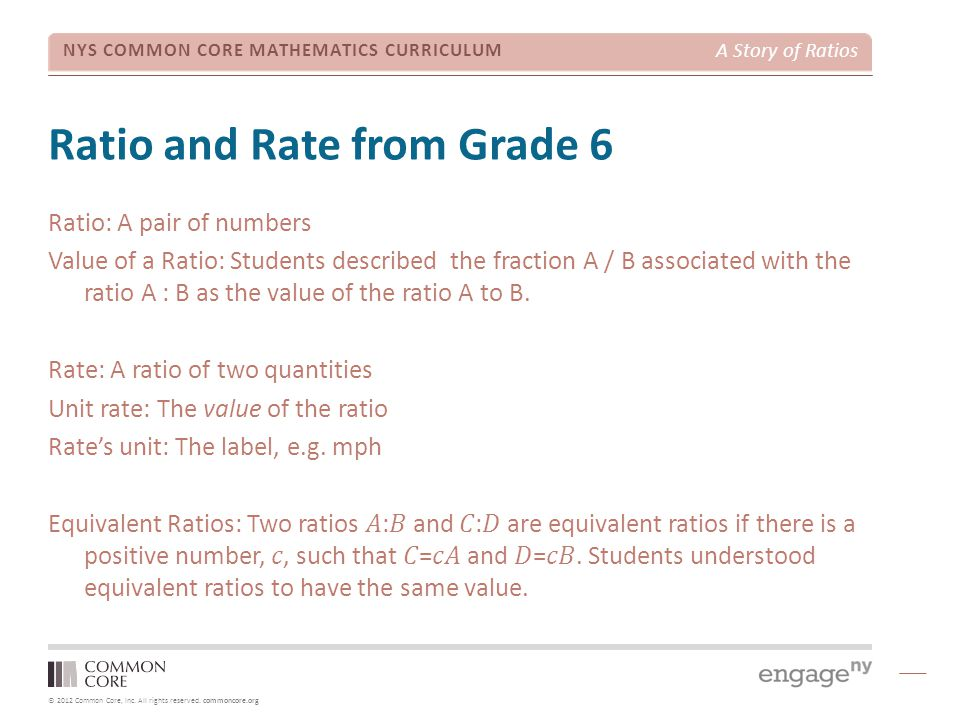 © 2012 Common Core, Inc. All rights reserved. commoncore.org NYS COMMON CORE MATHEMATICS CURRICULUM A Story of Ratios Ratio and Rate from Grade 6 Rati
