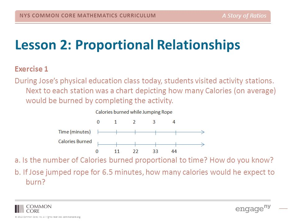 © 2012 Common Core, Inc. All rights reserved. commoncore.org NYS COMMON CORE MATHEMATICS CURRICULUM A Story of Ratios Lesson 2: Proportional Relations