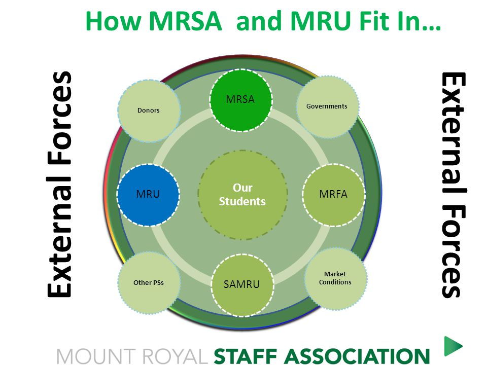 How MRSA and MRU Fit In… Our Students MRSA MRFA SAMRU MRU a complex system Other PSs Market Conditions Governments Donors External Forces