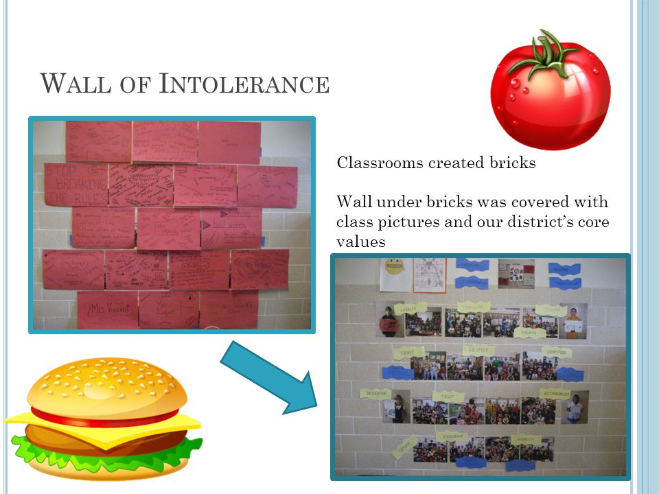 W ALL OF I NTOLERANCE Classrooms created bricks Wall under bricks was covered with class pictures and our district's core values