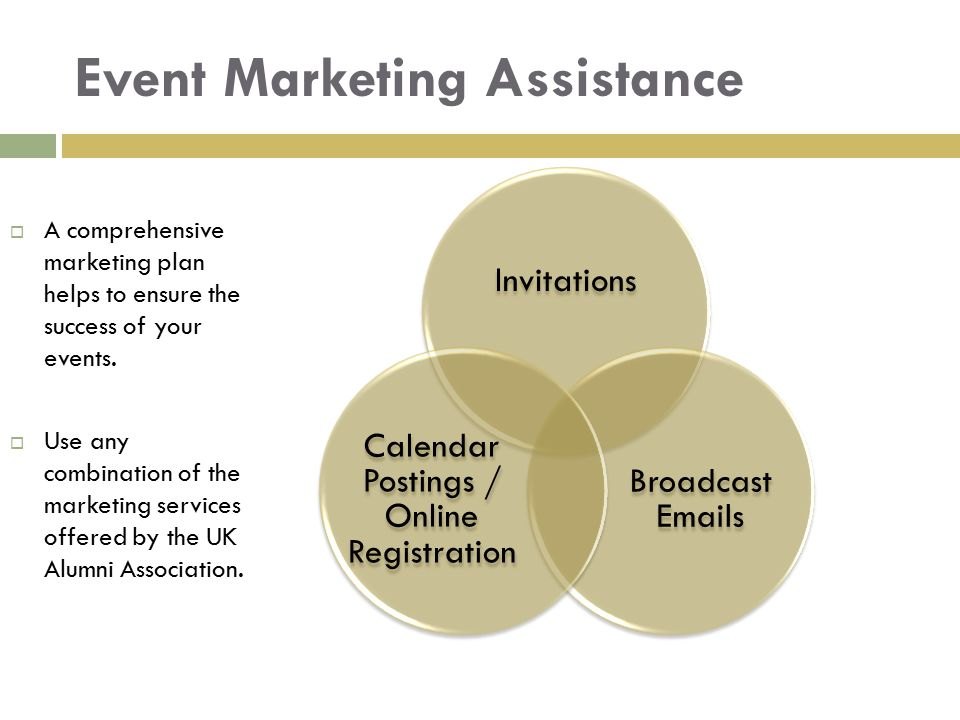 Event Marketing Assistance Invitations Broadcast Emails Calendar Postings / Online Registration  A comprehensive marketing plan helps to ensure the s