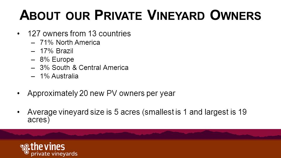 A BOUT OUR P RIVATE V INEYARD O WNERS 127 owners from 13 countries –71% North America –17% Brazil –8% Europe –3% South & Central America –1% Australia Approximately 20 new PV owners per year Average vineyard size is 5 acres (smallest is 1 and largest is 19 acres)