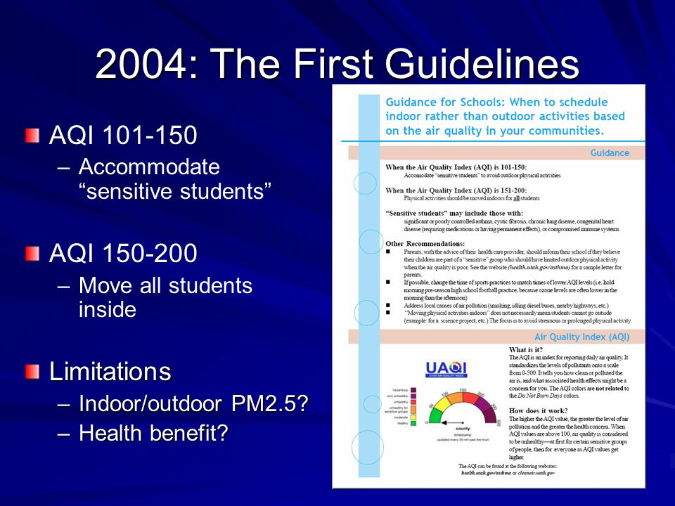 "2004: The First Guidelines AQI 101-150 – –Accommodate ""sensitive students"" AQI 150-200 – –Move all students insideLimitations –Indoor/outdoor PM2.5? –"