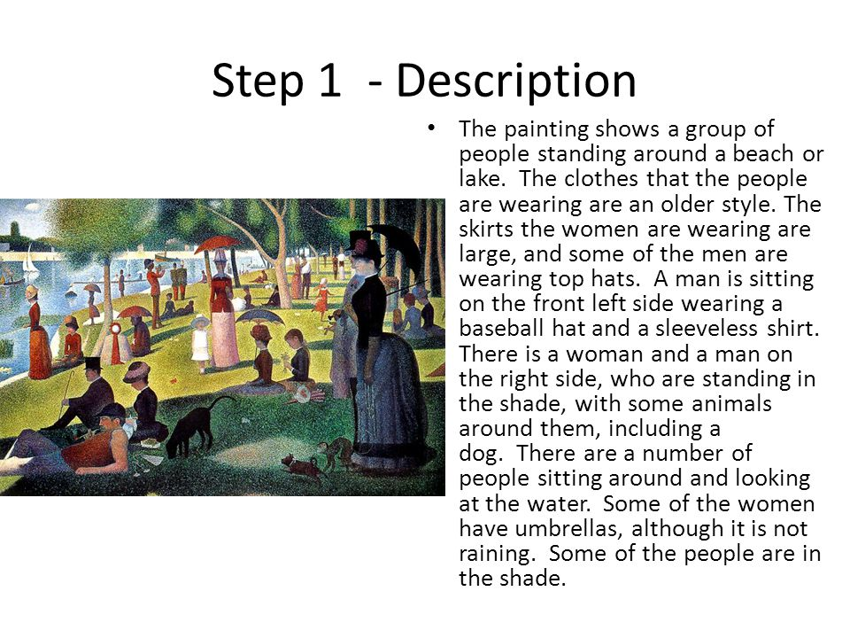 Step 1 - Description The painting shows a group of people standing around a beach or lake.
