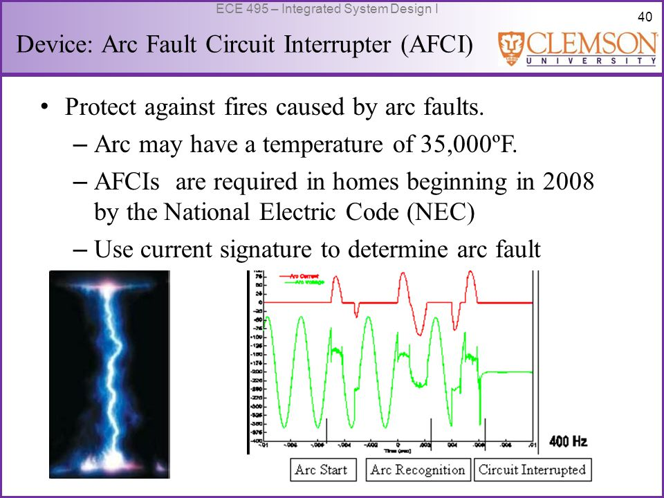 40 ECE 495 – Integrated System Design I Device: Arc Fault Circuit Interrupter (AFCI) Protect against fires caused by arc faults.