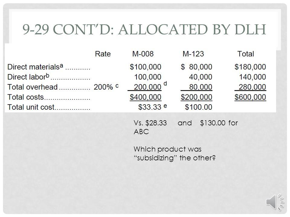 9-29: ABC VS. TRADITIONAL c-$15 per machine-hour = $120,000 in production run costs ÷ 8,000 machine-hours. d-$3,500 per run = $70,000 in per-run (setu