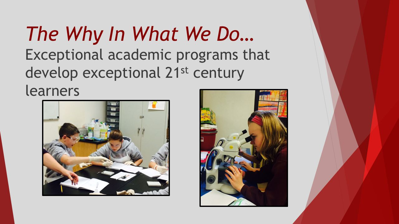 The Why In What We Do… Exceptional academic programs that develop exceptional 21 st century learners
