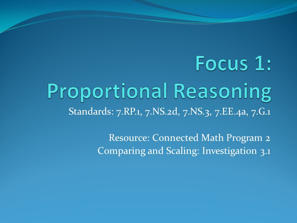 Standards: 7.RP.1, 7.NS.2d, 7.NS.3, 7.EE.4a, 7.G.1 Resource: Connected Math Program 2 Comparing and Scaling: Investigation 3.1