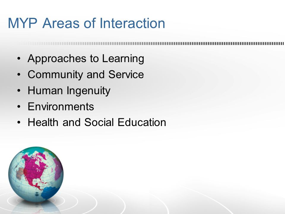 MYP Areas of Interaction Approaches to Learning Community and Service Human Ingenuity Environments Health and Social Education
