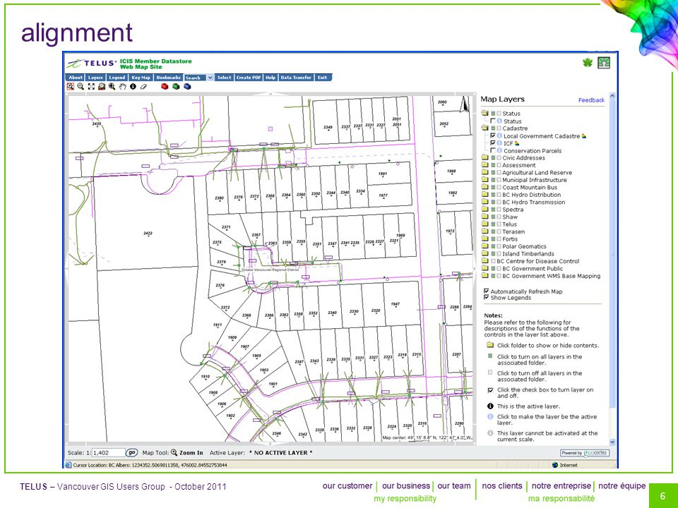 6 TELUS – Vancouver GIS Users Group - October 2011 alignment