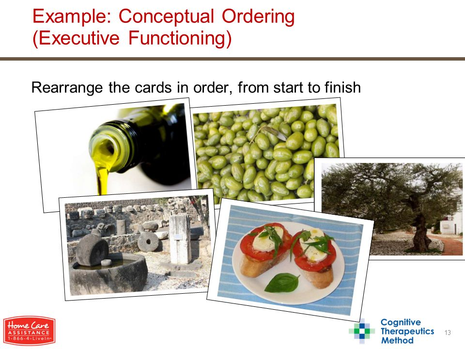 Rearrange the cards in order, from start to finish 13 Example: Conceptual Ordering (Executive Functioning)