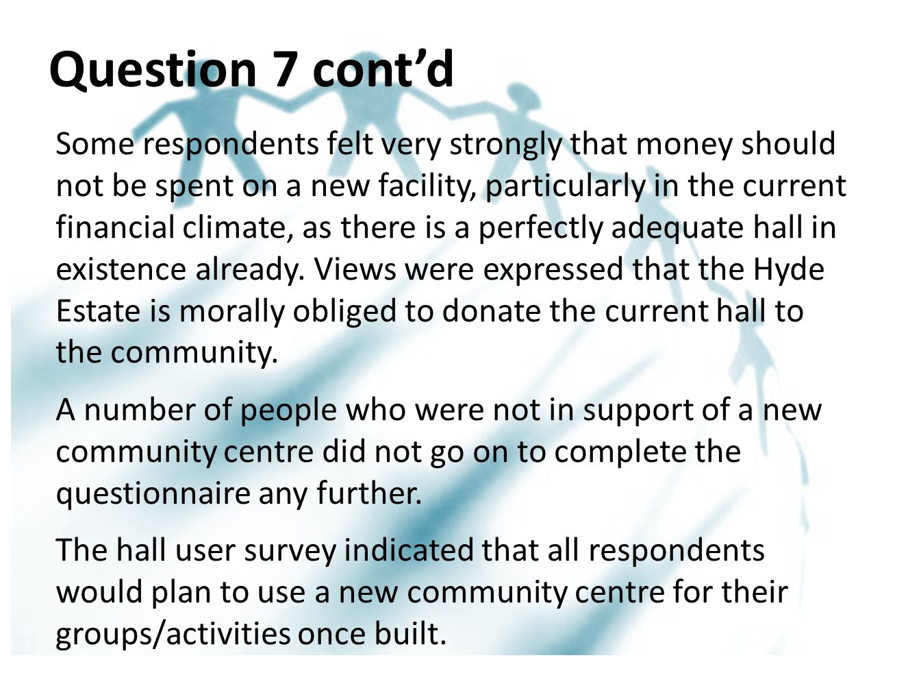 Question 7 cont'd Some respondents felt very strongly that money should not be spent on a new facility, particularly in the current financial climate, as there is a perfectly adequate hall in existence already.