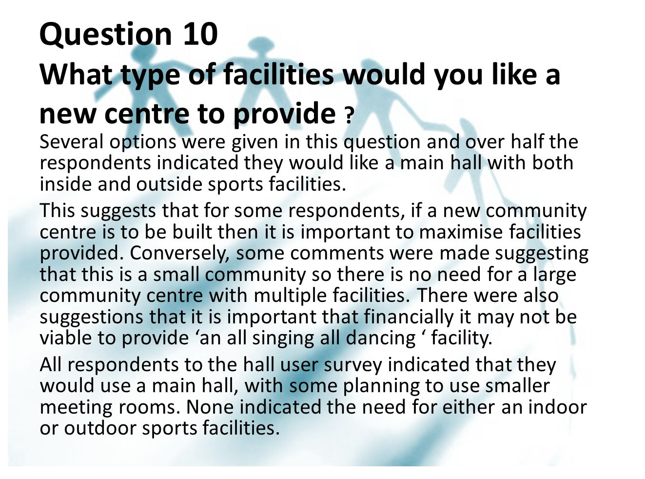 Question 10 What type of facilities would you like a new centre to provide .