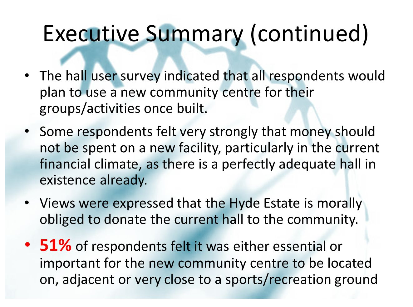 Executive Summary (continued) The hall user survey indicated that all respondents would plan to use a new community centre for their groups/activities once built.