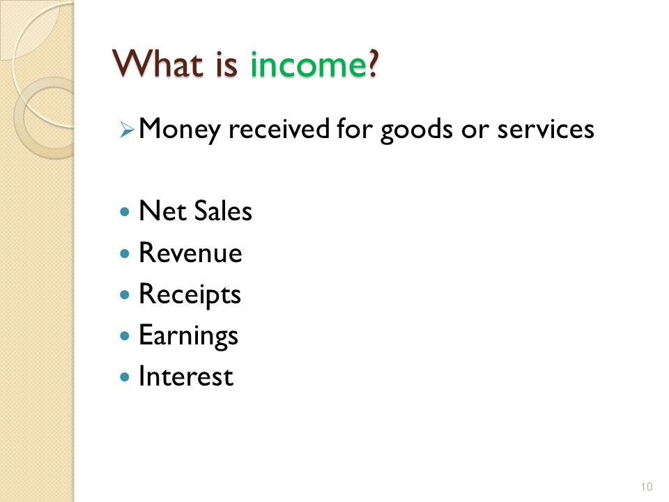 What is income.
