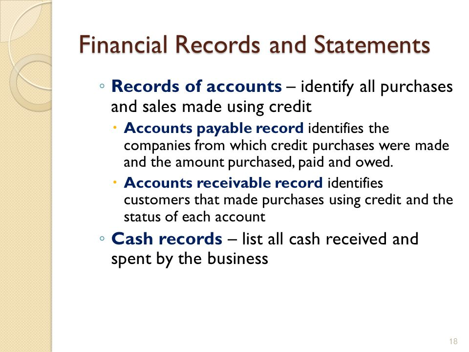 Financial Records and Statements ◦ Records of accounts – identify all purchases and sales made using credit  Accounts payable record identifies the companies from which credit purchases were made and the amount purchased, paid and owed.