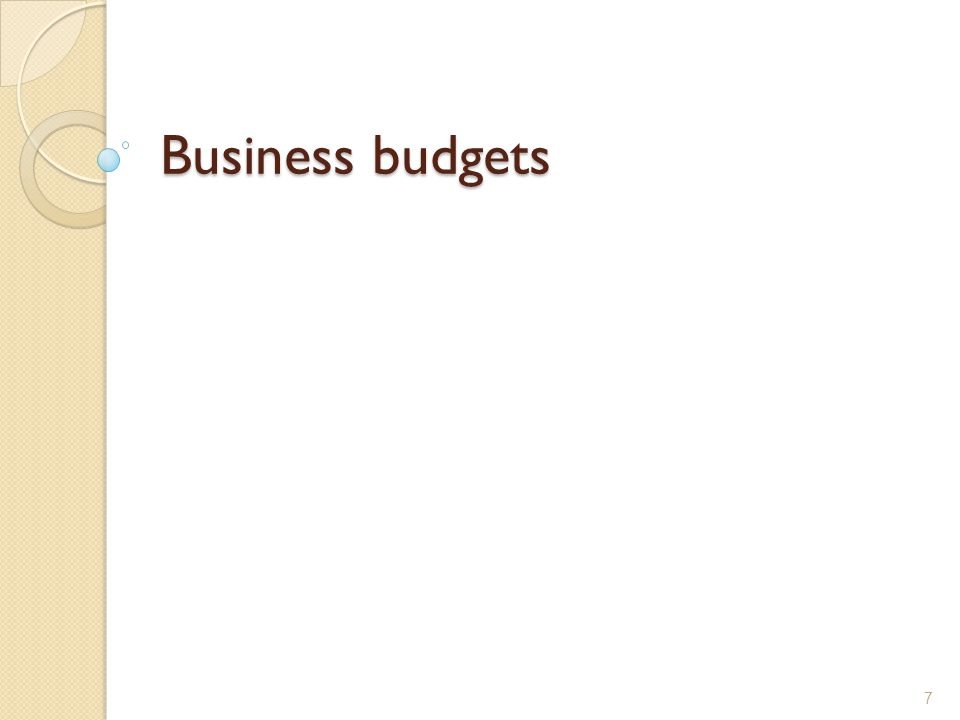 Business budgets 7