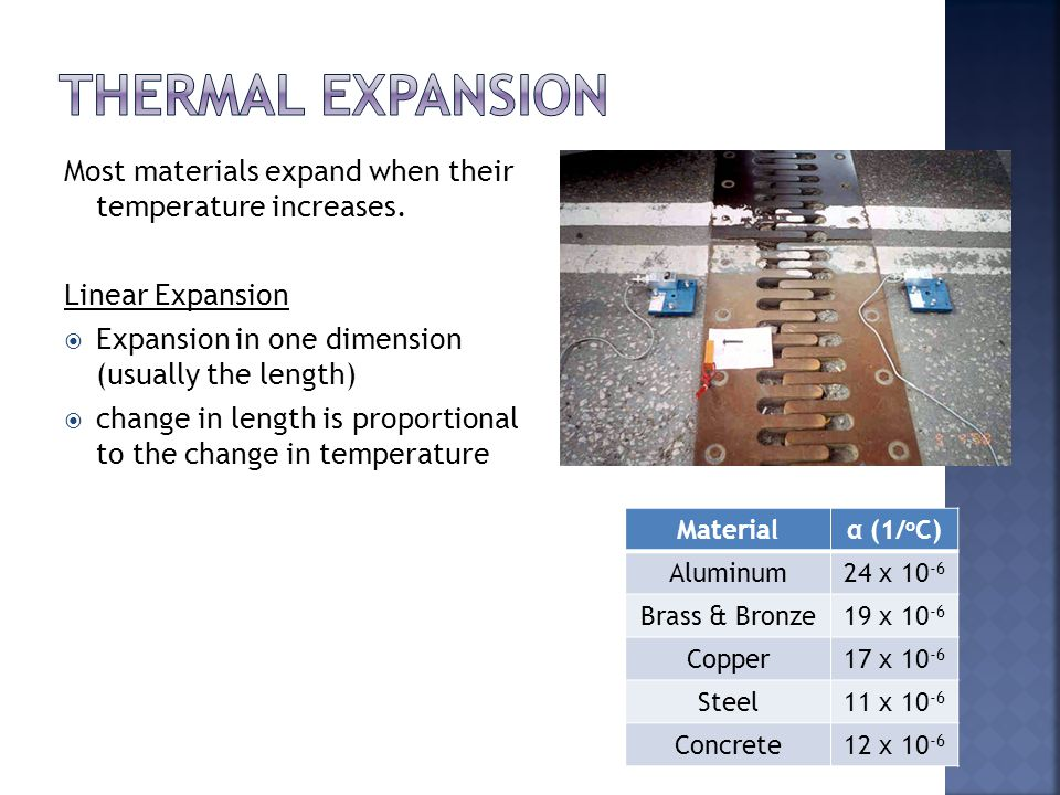 Most materials expand when their temperature increases. Linear Expansion  Expansion in one dimension (usually the length)  change in length is propo