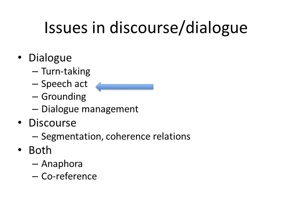 Issues in discourse/dialogue Dialogue – Turn-taking – Speech act – Grounding – Dialogue management Discourse – Segmentation, coherence relations Both