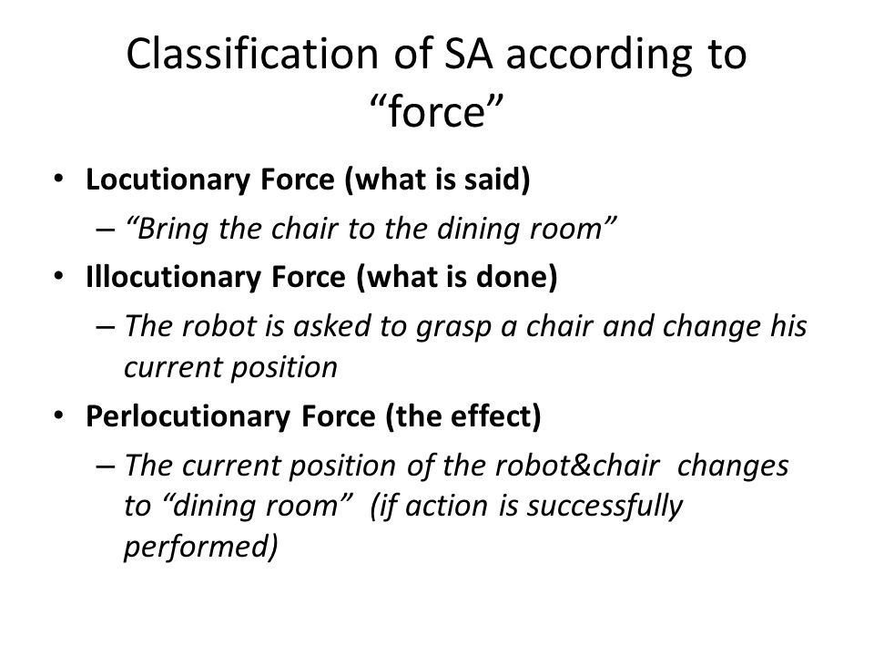 "Classification of SA according to ""force"" Locutionary Force (what is said) – ""Bring the chair to the dining room"" Illocutionary Force (what is done) –"