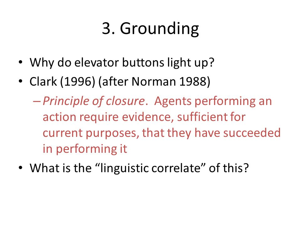 3. Grounding Why do elevator buttons light up? Clark (1996) (after Norman 1988) – Principle of closure. Agents performing an action require evidence,