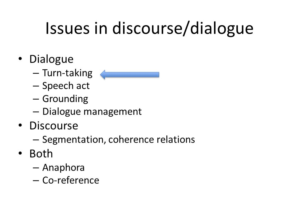 1.Turn-taking Dialogue is characterized by turn-taking.