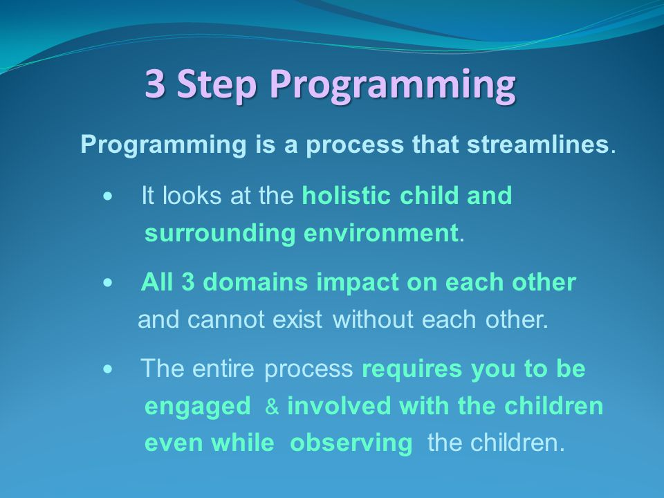 3 Step Programming Programming is a process that streamlines. It looks at the holistic child and surrounding environment. All 3 domains impact on each