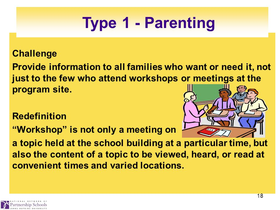 18 Challenge Provide information to all families who want or need it, not just to the few who attend workshops or meetings at the program site.