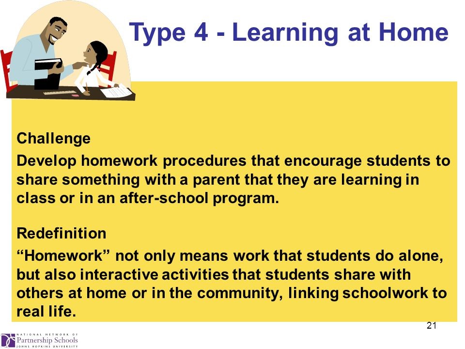 21 Challenge Develop homework procedures that encourage students to share something with a parent that they are learning in class or in an after-school program.