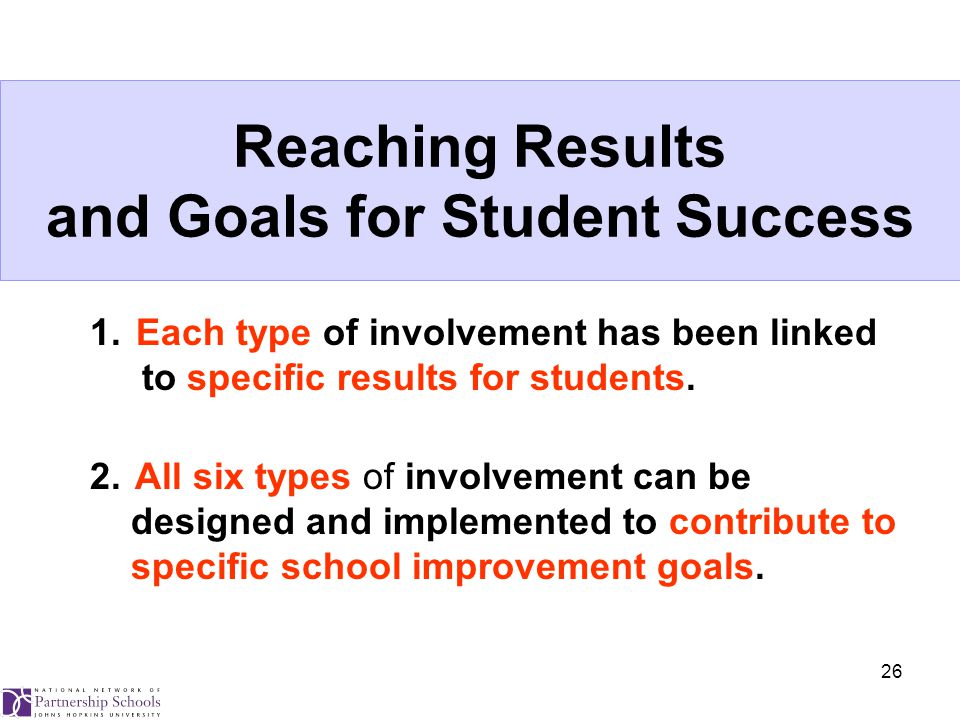 26 Reaching Results and Goals for Student Success 1.