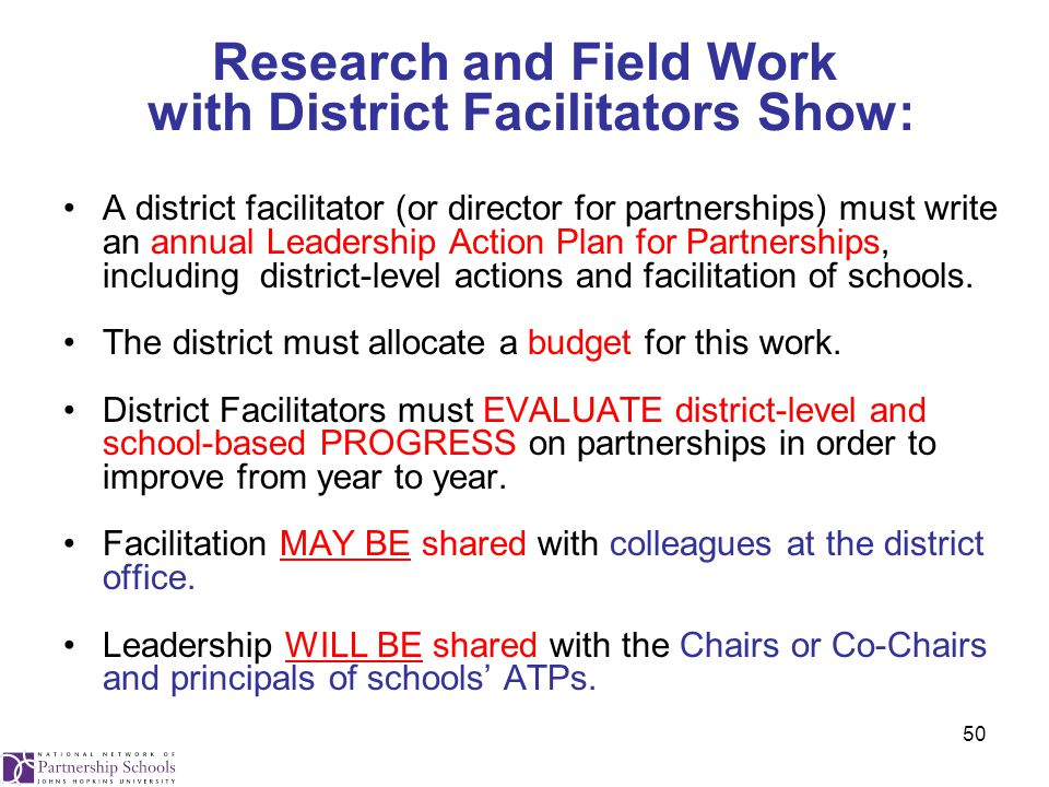 50 Research and Field Work with District Facilitators Show: A district facilitator (or director for partnerships) must write an annual Leadership Action Plan for Partnerships, including district-level actions and facilitation of schools.