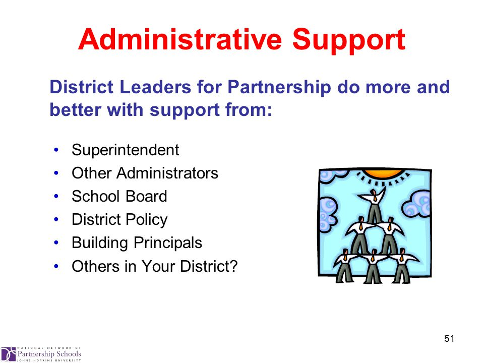 51 Administrative Support Superintendent Other Administrators School Board District Policy Building Principals Others in Your District.