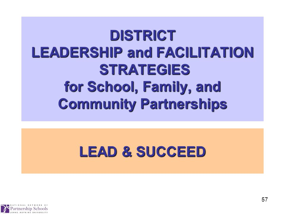 57 DISTRICT LEADERSHIP and FACILITATION STRATEGIES for School, Family, and Community Partnerships LEAD & SUCCEED