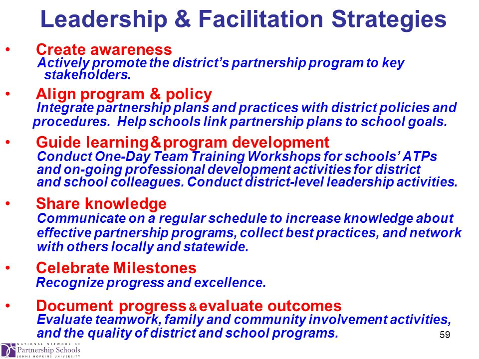 59 Leadership & Facilitation Strategies Create awareness Actively promote the district's partnership program to key stakeholders.