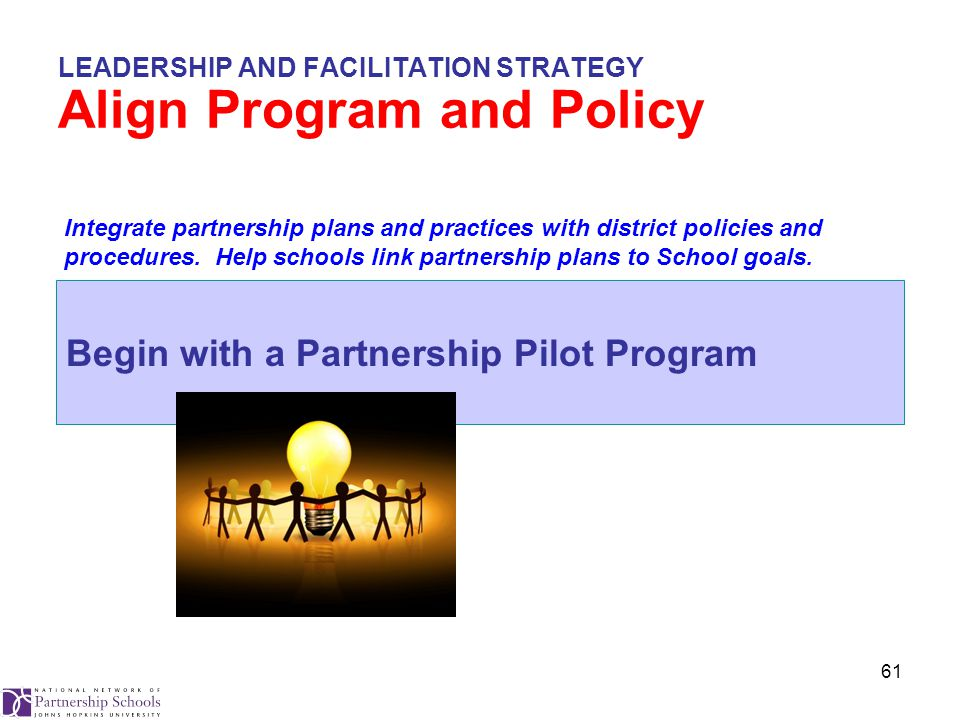 61 LEADERSHIP AND FACILITATION STRATEGY Align Program and Policy Begin with a Partnership Pilot Program Integrate partnership plans and practices with district policies and procedures.