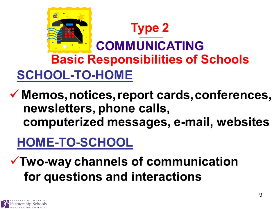 9 Memos, notices, report cards, conferences, newsletters, phone calls, computerized messages, e-mail, websites Two-way channels of communication for questions and interactions SCHOOL-TO-HOME HOME-TO-SCHOOL Type 2 COMMUNICATING Basic Responsibilities of Schools