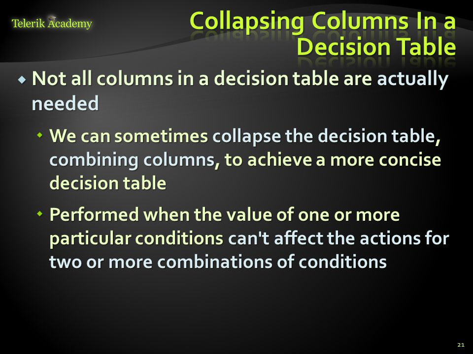  To combine columns – we should look for two or more columns that result in the same combination of actions 22Conditions12345678 Condition A YYYYNNNN Condition B YYNNYYNN Condition C YNYNYNYN Actions Action A YYYNNNNN Action B YNYYYYNN Action C YYNYYNNN