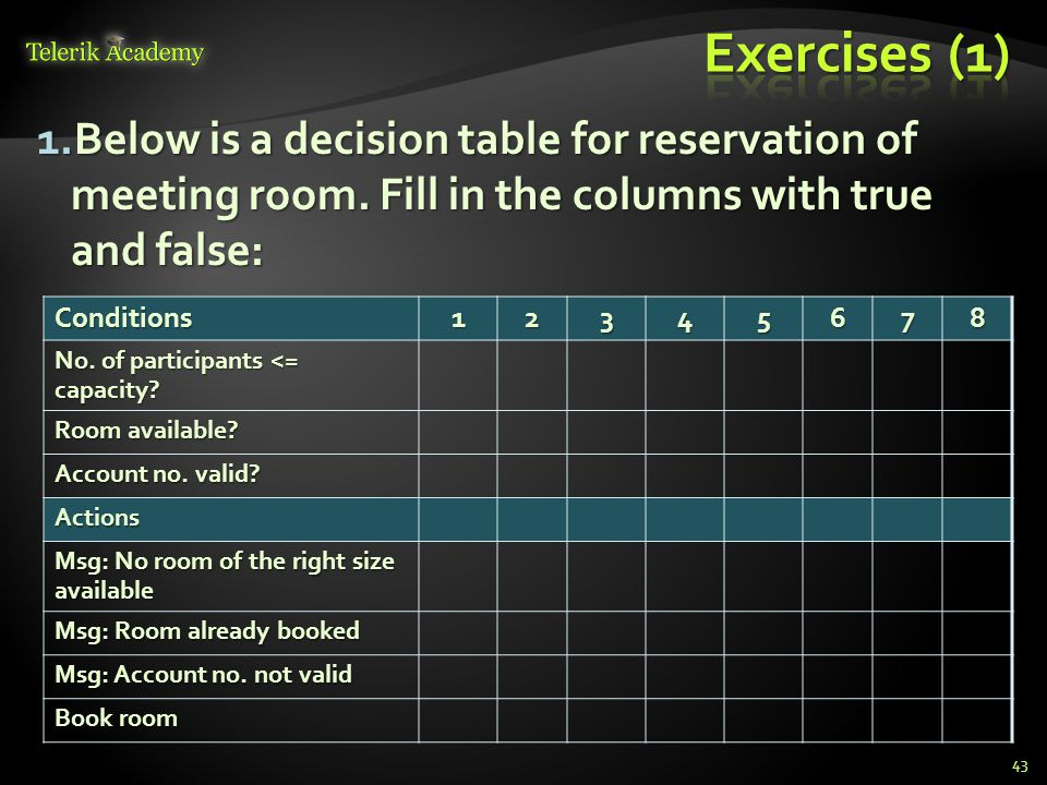 2.Below is a decision table for daily activities.