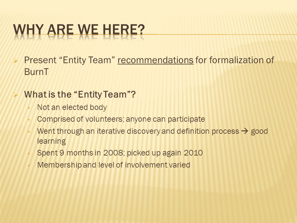  Present Entity Team recommendations for formalization of BurnT  What is the Entity Team .