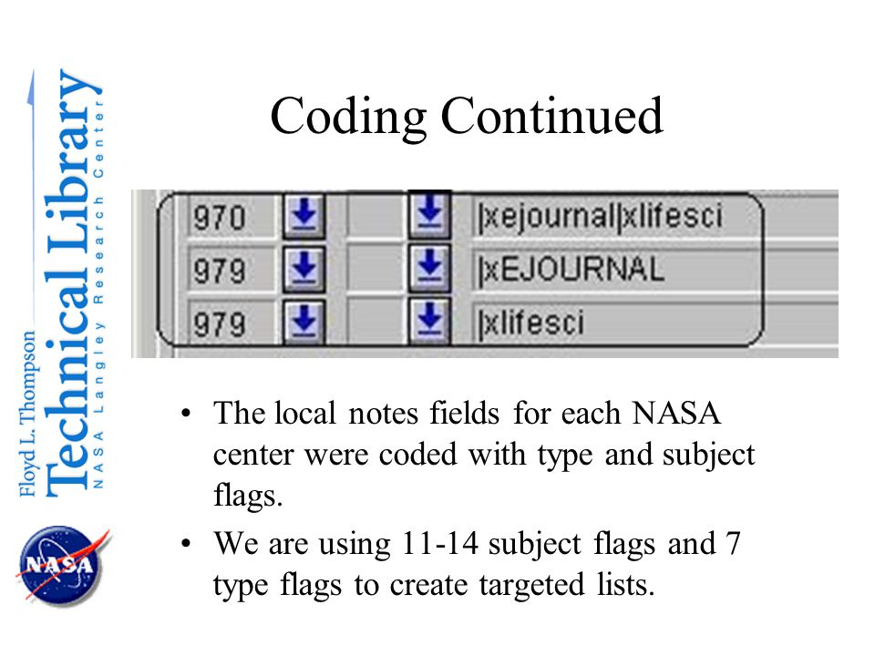 Coding Continued The local notes fields for each NASA center were coded with type and subject flags.