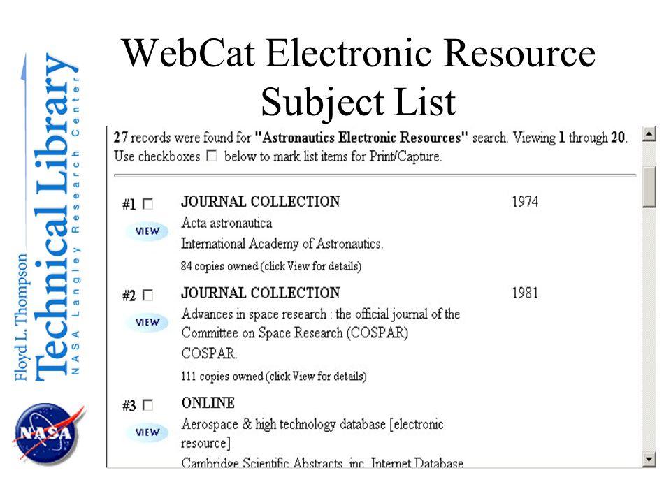 WebCat Electronic Resource Subject List