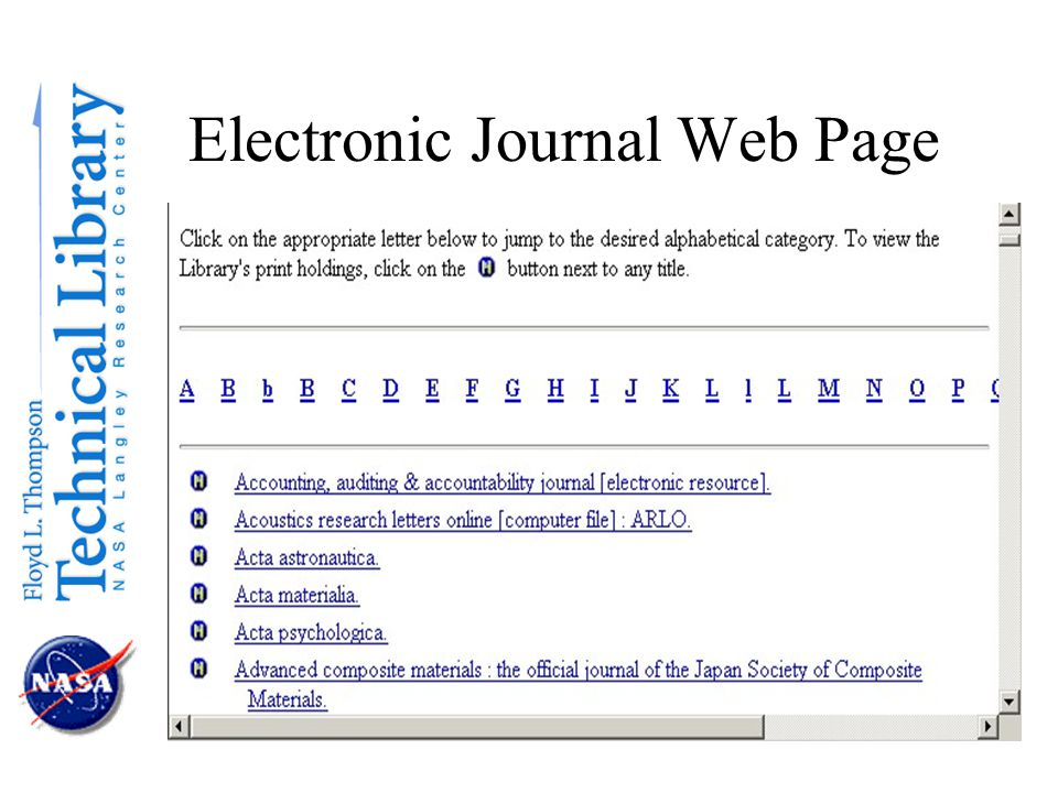 Electronic Journal Web Page