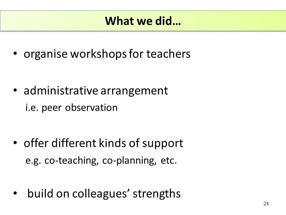 organise workshops for teachers administrative arrangement i.e.