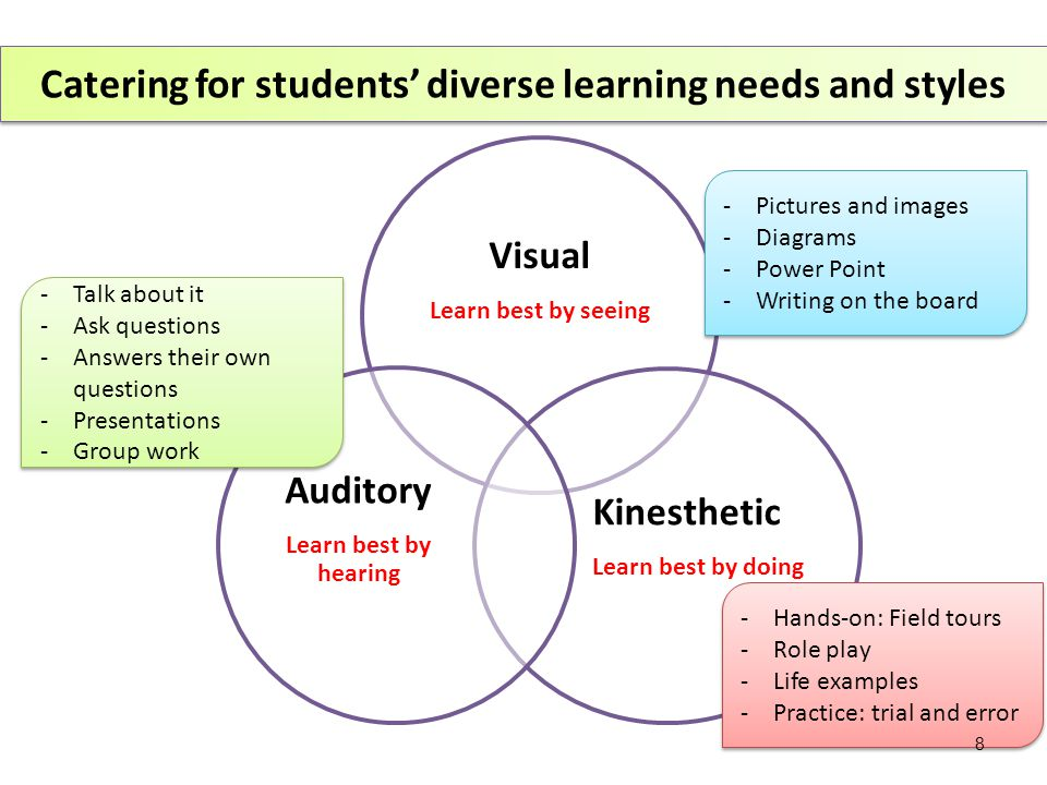 Visual Learn best by seeing Kinesthetic Learn best by doing Auditory Learn best by hearing Catering for students' diverse learning needs and styles -Pictures and images -Diagrams -Power Point -Writing on the board -Pictures and images -Diagrams -Power Point -Writing on the board -Hands-on: Field tours -Role play -Life examples -Practice: trial and error -Hands-on: Field tours -Role play -Life examples -Practice: trial and error -Talk about it -Ask questions -Answers their own questions -Presentations -Group work -Talk about it -Ask questions -Answers their own questions -Presentations -Group work 8