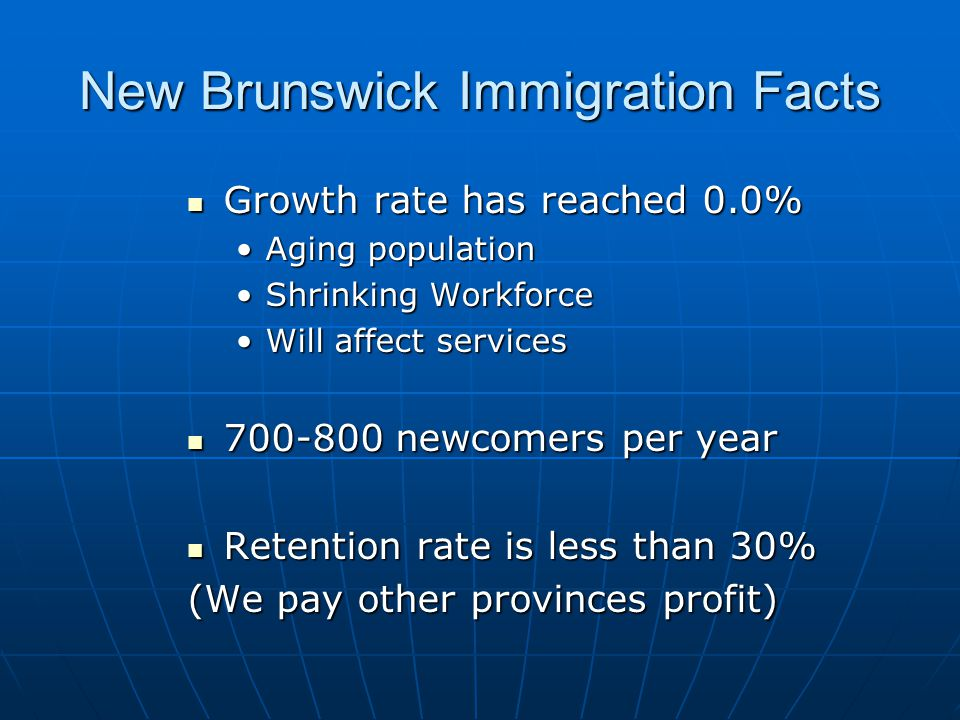 New Brunswick Immigration Facts Growth rate has reached 0.0% Growth rate has reached 0.0% Aging populationAging population Shrinking WorkforceShrinking Workforce Will affect servicesWill affect services 700-800 newcomers per year 700-800 newcomers per year Retention rate is less than 30% Retention rate is less than 30% (We pay other provinces profit)