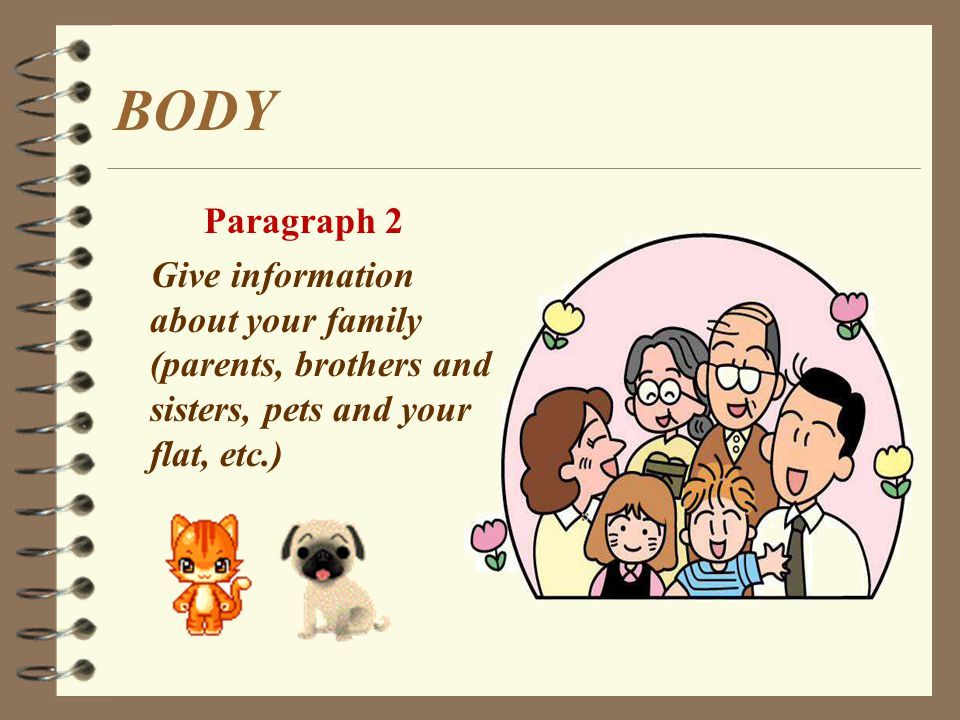 BODY Paragraph 1 Say hello Information about yourself (age, height, hair and hobbies, etc)