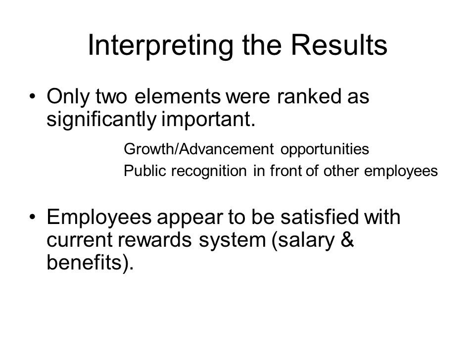 Interpreting the Results Only two elements were ranked as significantly important.