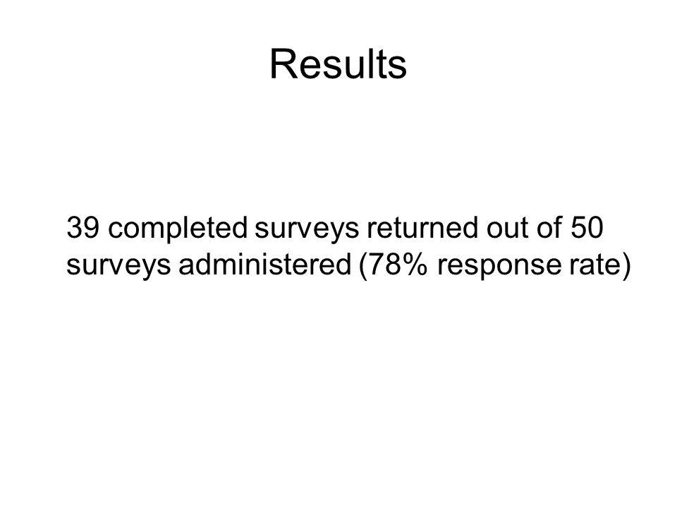 Results 39 completed surveys returned out of 50 surveys administered (78% response rate)
